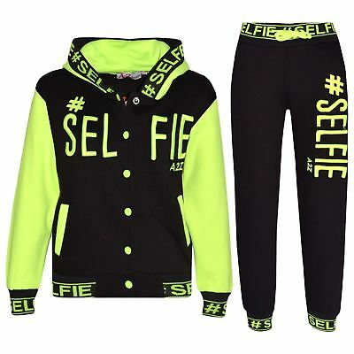 Kids Girls Boys Tracksuit Designer's #Selfie Embroidered Jogging Suit Top Bottom
