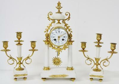 Antique French 8 Day White Marble & Bronze 2 Pillar Portico Mantel Clock Set