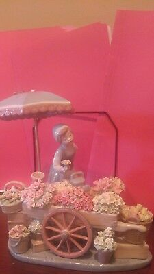 Lladro Flowers Of The Season No Box Available #1454 Woman Flower Cart