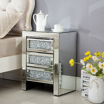 Modern Mirrored Glass Bedside Cabinet Table with 3 Crystal Drawers & Handles