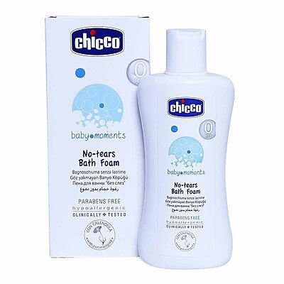 Chicco Baby Moments No Tears Bath Foam for baby skin Alcohol Parabens Free 200ml