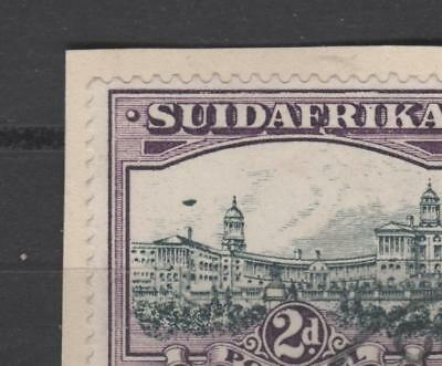 SOUTH AFRICA - 1930/45 UNHYPHENATED ROTO 2d + 'AIRSHIP' FLAW + USED ON PIECE