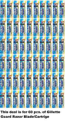 60x Gillette Guard Razor Blades/Cartridge For Safe Smooth and clear Men Shave