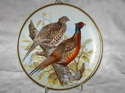 Common Pheasant - Haviland Limoges Collector Plate - Franklin Porcelain 24 Karat