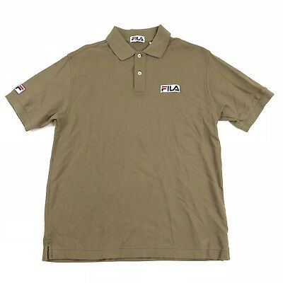 2df9000ff3d1 Fila Men s Polo Shirt Medium Spellout Logo 90 s S S Embroidered Vintage  Brown