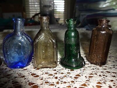 Old Vtg Wheaton Taiwan Small Mini Assorted Color Blue Red Glass Bottle Lot Of 10
