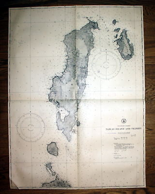 1940 Philippine Islands Tablas Island Vicinity Philippinen map Karte chart plan