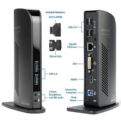 Kensington Laptop Docking Station USB 3.0 Dual HD Video SD3500V
