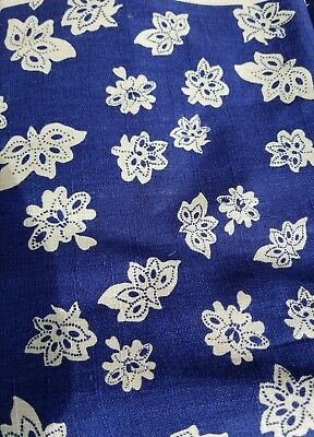 Windham Fabrics Low Country Indigo Tossed Flower By Nancy Gere Linen Fabric