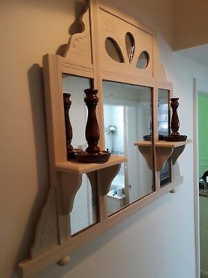 Vintage over mantle mirror. Old ochre/cream colour.