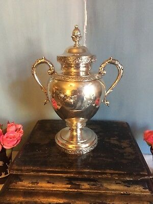 Antique Bailey and Kitchen Coin Silver Urn Tea Caddy Trophy Vase