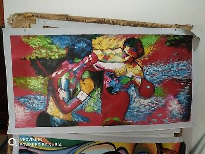 100% Hand Painted Oil Painting on Canvas,LeRoy Neiman rocky vs apollo 24×43inch