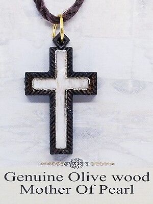"Holy Land Olive Wood Mother Of Pearl Cross Necklace Bethlehem Made 1.5"" Simple"