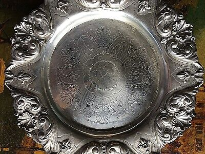 Antique Silver Plated Round Victorian Tray Heavy Ornate Rim 1890's