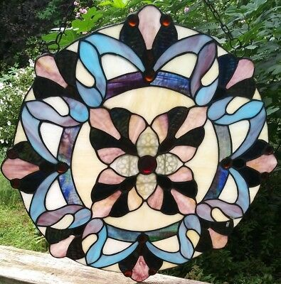 Vintage Beautiful Flowerish Stained Glass Hanging Window Panel  Slag Glass 21""