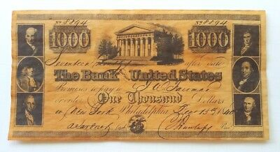 1840 $1000 Dollar Note The Bank of the United States Copy Reproduction Souvenir