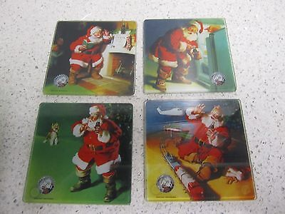 Christmas Glass Square Coasters Coca Cola 75th Anniversary  Santa Claus