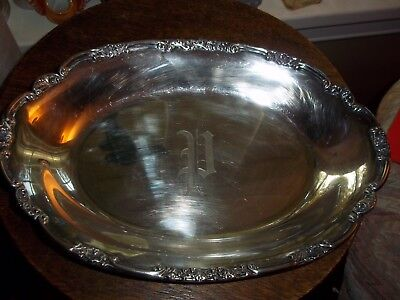 Lovely Silver Plate Tiffany & Co Tray Platter Dish Initial P