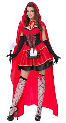 Red Hooded Cape Women's Adult Dress Halloween Costume, L/XL