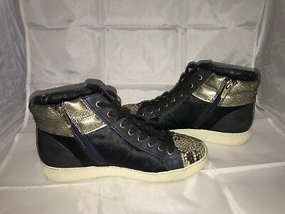 ff5ea6e0a38145 Sam Edelman Britt High Top Sneaker Navy Blue Dyed Cow Fur w  Snake Skin 9.5