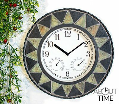 Slate Effect Patterned Outdoor Garden Clock with Thermometer - 30cm 11¾  - by