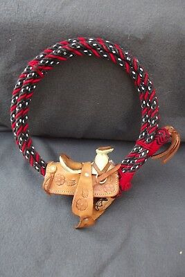 Horse Leather Saddle on Rope Wall Hanging, Wreath