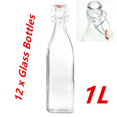 12 x Square Glass Water Bottle 1 Litre CLip-Lock Bottle Lid Glass Bottles Carafe