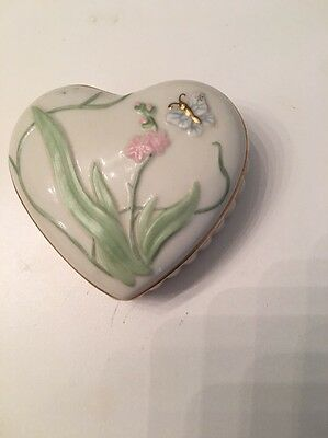 Lovely Little Heart Shaped Porcelain Box By Lenox White With Flowers