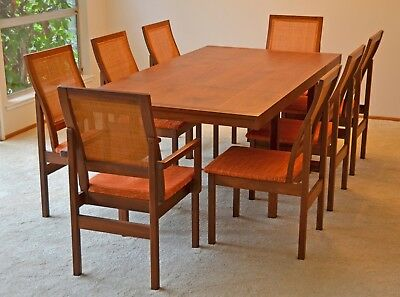 Vintage Brown Saltman Mid-Century Dining Table with Chairs