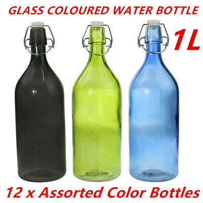 12 x Colored Round Glass Water Bottle 1 Litre Glass Bottle Carafe Restaurants DD