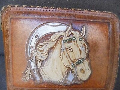 1940's Vintage Hand Tooled Laced Western Southwestern Leather Brown Horse Wallet