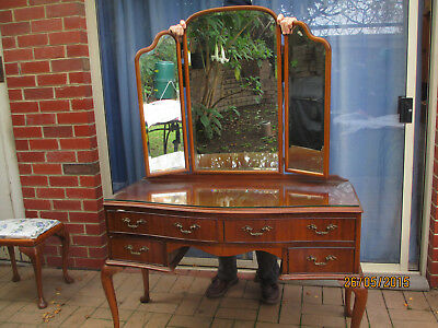 antique Dressing Table, blackwood , curved swingmirrors, craftsmanBuilt, Drawers