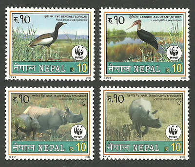 Nepal 2000 Wwf World Wildlife Fund Birds Florican Stork Rhino Set Mnh