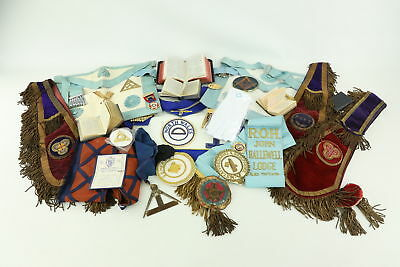 Job Lot Assorted Vintage MASONIC Regalia Inc. Aprons, Collars & Books Etc