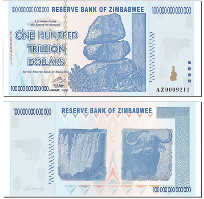 Zimbabwee 100 Trillion Dollars, AZ/2008, P-91, UNC, 100 Trillion Series