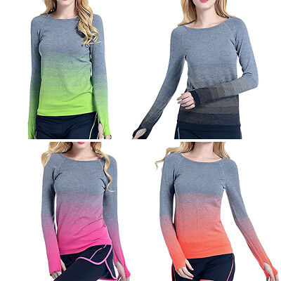 e735f1b9 Women Long Sleeve Fitness Gym Yoga Running T Shirt Quick-Dry Active Sports  Tops