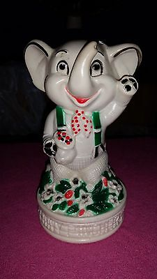 BANKERS SYSTEMS Elephant Piggy Bank Penny Pincher Green Suspenders Trunk Up