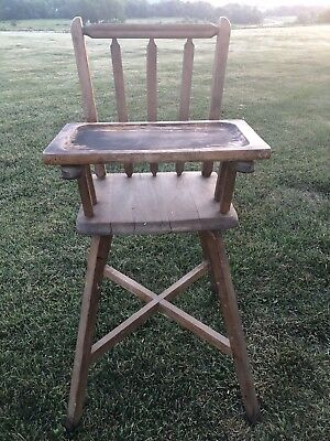 Antique Vintage Early 1900's Wood High Chair With With Cross-Bracing FARMHOUSE