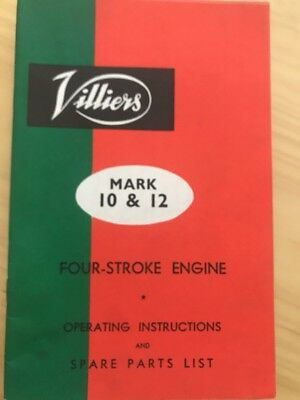 Villiers Type Mark 10 & 12 Four Stroke Engine Operating Ins. & Spare Parts List