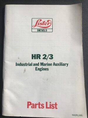 Lister Diesels HR 2/3 Industrial & Marine Auxiliary Engines Parts List Book