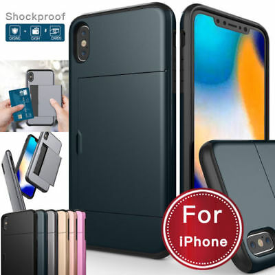 For iPhone 11 Pro 11 XS Max XR X 8 7 6s Plus Hybrid Armor Wallet Card Slot Case