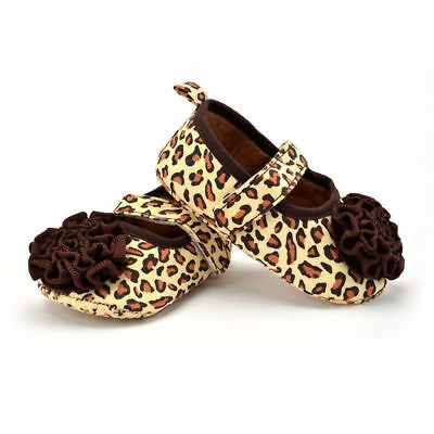 Newborn Infant Baby Girl Toddler Soft Sole Crib Prowalker Leopard Shoes c0980