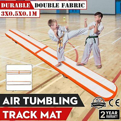 10Ft Air Track Floor Tumbling Inflatable Gym Mat Fitness Portable 3.9in Thick