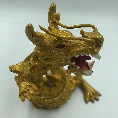 Dragon Figurine Gold Statue Chinese Shui Feng Luck Success Handmade Ornament