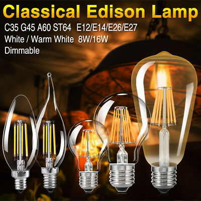 Dimmable E27 E14 8/16W Retro Edison Filament COB LED Bulb Flame 220V Lights Lamp