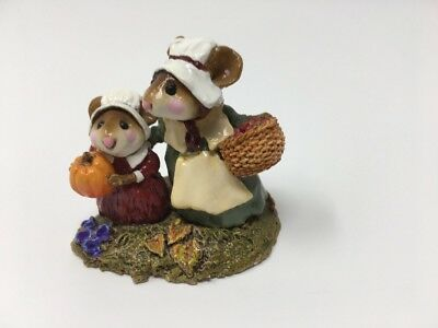 Wee Forest Folk M-199 WE GATHER TOGETHER  Pilgrim Mice - Retired in WFF Box