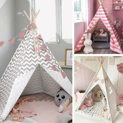 🎪Teepee🎪Kids Play Tent Large 100% Cotton Wigwam Outdoor Toy Birthday Gifts