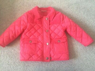 Baby Girls next quilted jacket Aged 9-12 Months Pink