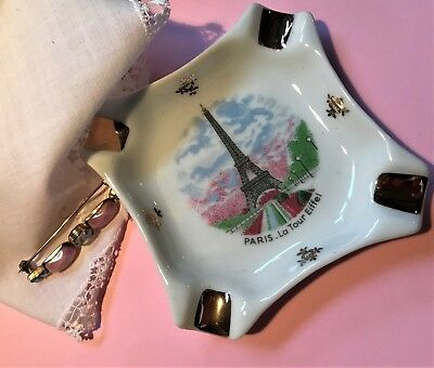 LIMOGES Ashtray Eiffel Tower Paris Vintage Porcelain Souvenir Trinket ShabbyChic