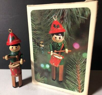HALLMARK 1981 CLOTHESPIN DRUMMER BOY Christmas Ornament W/ Box Vintage